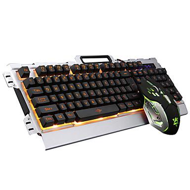 Med ledning Mus tastaturkombinasjon DPI Justerbar bakgrunnsbelyst USB Port mekanisk tastatur