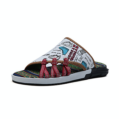1ed38f89c Men s Slippers   Flip-Flops Light Soles Comfort Spring Summer Fabric Walking  Shoes Casual Outdoor Flat Heel White Army Green Black White  05675121