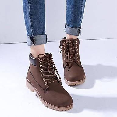voordelige Dameslaarzen-Dames Laarzen Lage hak Ronde Teen Veters PU Noviteit / Modieuze laarzen / Legerlaarzen Wandelen Herfst / Winter Groen / Roze / Regenboog / EU41