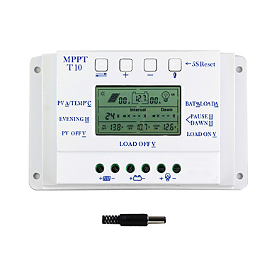 10a lcd napelemes töltésvezérlő 12v 24v auto váltani kettős timer y-szolár t10