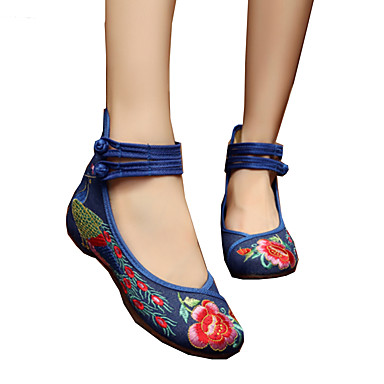 billige Toppsalg-Dame Oxfords espadrille Flat hæl Rund Tå Spenne / Blomst Lerret Komfort / Original / brodert sko Gange Vår / Sommer Svart / Navyblå / Grønn / EU42