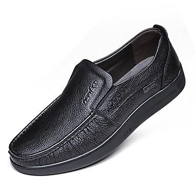 Herre sko Lær Vår / Høst Trendy støvler / Mokkasin / Komfort Oxfords Gange Svart / Gul / Brun