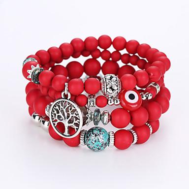 Com Miçangas / Camadas Pulseiras Strand - Resina Fashion, Multi Camadas Pulseiras Preto / Arco-íris / Vermelho Para Presentes de Natal / Aniversário / Noivado
