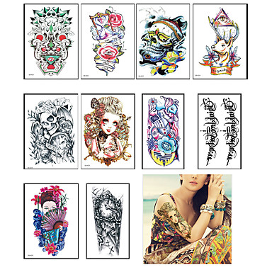 dd25469ba 10PC Temporary Tattoo Sleeve Designs Full Arm Waterproof Tattoos For Cool  Men Women Transferable Tattoos Stickers On The Body Art #05592658
