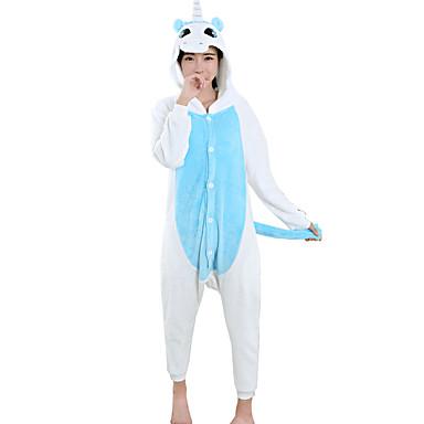 Adulto Pijamas Kigurumi Unicórnio Pijamas Macacão Flanela Tosão Azul Cosplay Para Homens e Mulheres Pijamas Animais desenho animado Festival / Celebração Fantasias