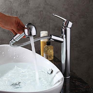 Baderom Sink Tappekran - Træk-udsprøjte Krom Centersat Enkelt Håndtak Et Hull