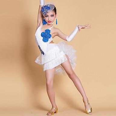 الرقص اللاتيني الفساتين أداء سباندكس / ألياف الحليب شرابة / كريستال / أحجار الراين بدون كم ارتفاع متوسط فستان / قفازات / أغطية الرأس