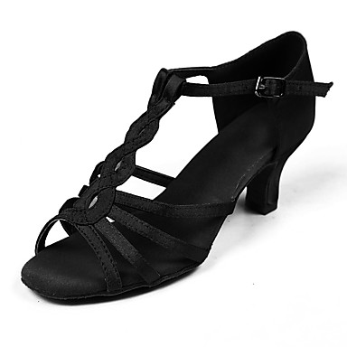 للمرأة أحذية رقص ستان / قماش صندل / كعب مشبك كعب مخصص مخصص أحذية الرقص أسود / بني / أداء