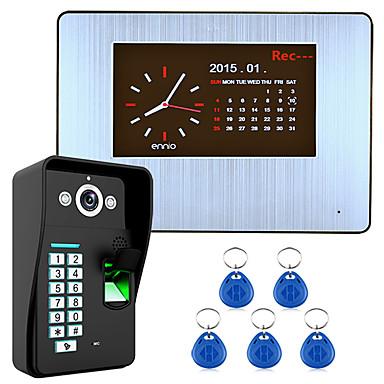 7 lcd opptak hd 1000tvl dvr gjenkjenning av fingeravtrykk video dør telefon intercom system kit