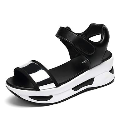 billige Sandaler til damer-Dame Wedge-sandaler Kunstlæder Sommer Rullebræt / Komfort Sandaler Gang Platform / Creepers Kigge Tå Spænde Guld / Sølv / Blå