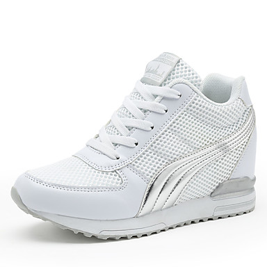 povoljno Ženske cipele-Žene Sneakers Wedge Heel / Creepersice Okrugli Toe Vezanje Til Tenisice platforme Hodanje Proljeće / Ljeto / Jesen Obala / Crn / Pink / EU39