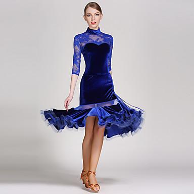 Žene-Outfits- zaLatin Dance(Crn Plav Crvena,Čipka Velvet,Zamotan)