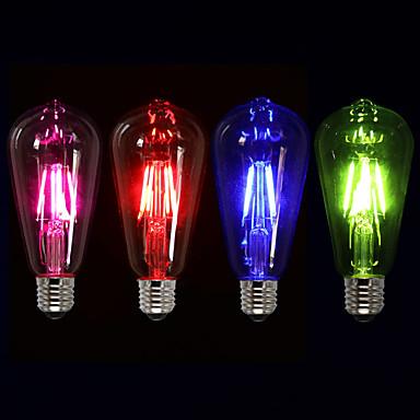 olcso Dekorativna rasvjeta-1db 4 W Izzószálas LED lámpák 360 lm E26 / E27 ST64 4 LED gyöngyök COB Dekoratív Piros Kék Zöld 220-240 V / 1 db. / RoHs
