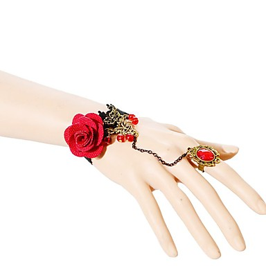 billige Motearmbånd-Dame Kjeder & Lenkearmbånd Blomst Mote Blonde Armbånd Smykker Rød Til Bryllup Fest Spesiell Leilighet Bursdag Engasjement Gave