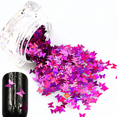 1 bottle Purpurina Jóias de Unhas Luxo / Design Moderno / Espumante arte de unha Manicure e pedicure Festa / Festa / Noite / Diário Borboleta / Brilho & Glitter / Jóias de unha