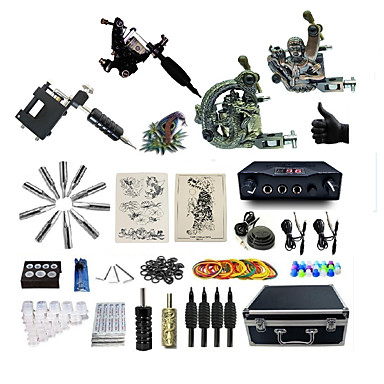 BaseKey Máquina de tatuagem Kit de tatuagem profissional - 4 pcs máquinas de tatuagem, Profissional Fonte de Alimentação LED Capa Inclusa 1xMáquina Tatuagem de aço para linhas e sombras / 2xMáquina