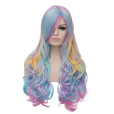 الاصطناعية الباروكات / باروكات مخصصة شعر مستعار صناعي شعر مستعار للمرأة طويل دون غطاء أزرق