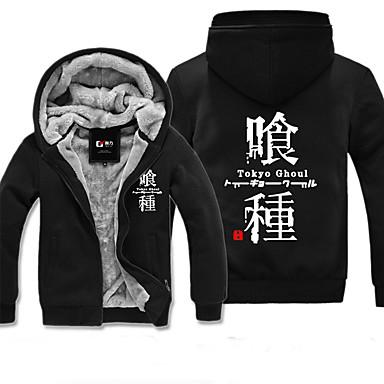 Ihlette Tokyo Ghoul Ken Kaneki Anime Szerepjáték jelmezek Cosplay Hoodies Egyszínű Nyomtatott Hosszú ujj Felső Még több kiegészítő