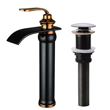 Moderna Conjunto Central Cascata Válvula Cerâmica Monocomando e Uma Abertura Bronze Polido a Óleo, Faucet Set