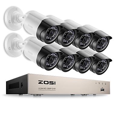 zosi® 8ch alerta de e-mail kits de vigilância 1080 p hd-tvi dvr 8 pcs 2.0mp ir night vision câmera de vídeo sistema de cctv