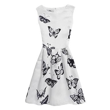 لفتاة فستان طباعة بوليستر صيف بدون كم زهري أبيض