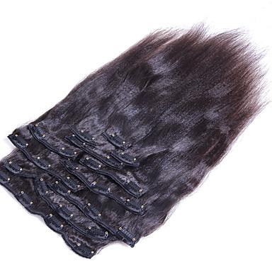 Com Presilha Extensões de cabelo humano Liso Cabelo Humano Cabelo Brasileiro Mulheres Diário