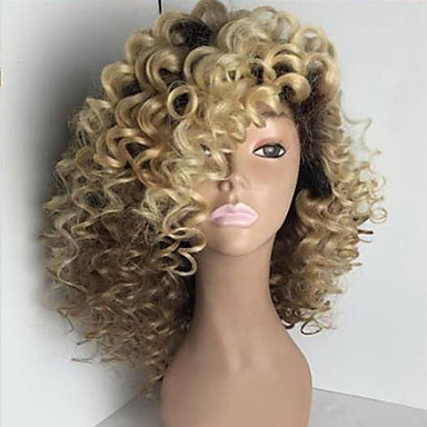 billige Blondeparykker med menneskehår-Ekte hår Helblonder uten lim Helblonde Parykk stil Brasiliansk hår Kinky Curly Nyanse Parykk 150% Hair Tetthet med baby hår Ombre-hår Naturlig hårlinje Afroamerikansk parykk 100 % håndknyttet Nyanse