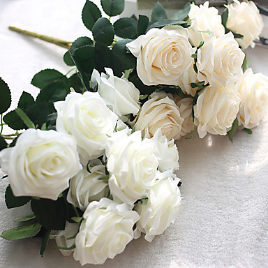 Flori artificiale 1 ramură Stil European Trandafiri Față de masă flori