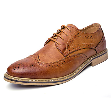 Homens sapatos Couro Ecológico Verão Outono Sapatos formais sapatos Bullock Oxfords para Casual Escritório e Carreira Festas & Noite