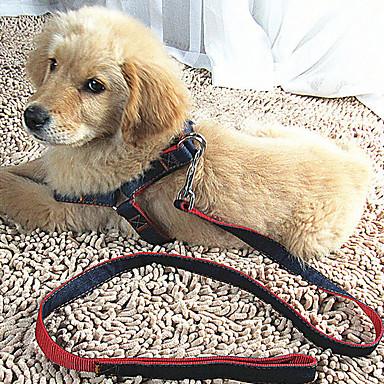 Gato / Cachorro Arreios / Trelas Retratável / Respirável / Segurança Sólido Tecido Vermelho / Azul / Preto