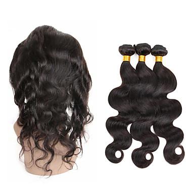 baratos Extensões de Cabelo Natural-3 pacotes com fechamento Cabelo Peruviano 360 Frontal / Onda de Corpo Cabelo Humano Cabelo Humano Ondulado Tramas de cabelo humano Venda imperdível Extensões de cabelo humano