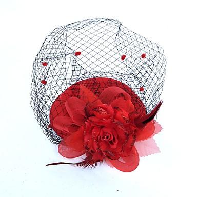 billige Hodeplagg til fest-Fjær / Nett fascinators / blomster / Hatter med Blomster 1pc Bryllup / Spesiell Leilighet Hodeplagg