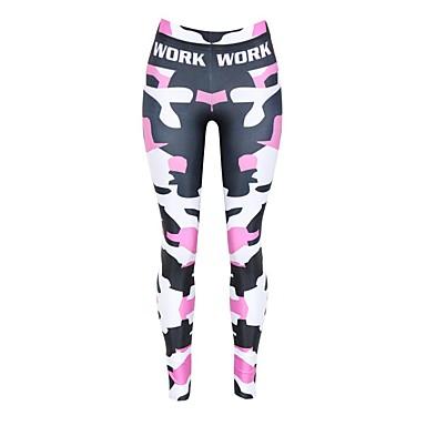 Mulheres Calças de Corrida Respirável Macio Confortável Meia-calça Calças Ioga Exercício e Atividade Física Corrida Poliéster Arco-íris S