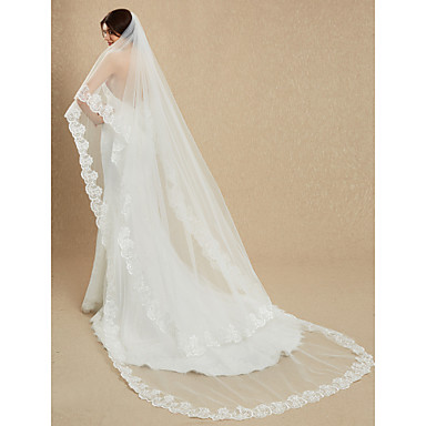 One-tier Lace Applique Edge Wedding Veil Cathedral Veils 53 Embroidery 181.1 in (460cm) Lace Tulle