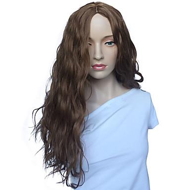 الاصطناعية الباروكات مموج شعر مستعار صناعي بني شعر مستعار للمرأة طويل دون غطاء البيج