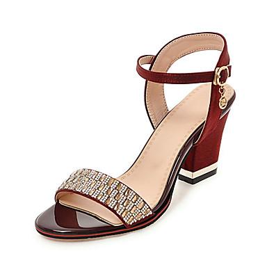 Mujer Zapatos PU Verano Talón Descubierto Zuecos y pantuflas Tacón Plano Dedo redondo Plateado / Rojo xb88d22O