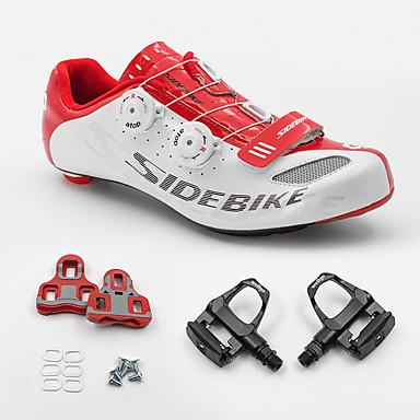 SIDEBIKE Herre Sykkelsko med pedal og tåjern / Veisykkelsko Nylon og Kulfiber Demping ånd bare Blanding / PU Sykling / Sykkel