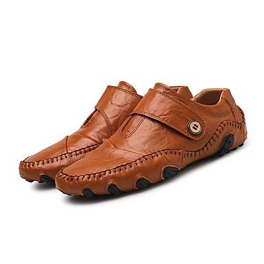 abordables Ofertas Destacadas-Hombre Cuero de Napa Primavera / Verano / Otoño Casual / Confort Zapatos de taco bajo y Slip-On Paseo Negro / Marrón