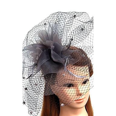 تول / ريشة / صاف قطع زينة الرأس / قبعات / غطاء شفاف للوجه مع 1 زفاف / مناسبة خاصة خوذة