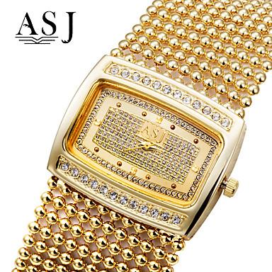 baratos Relógios Senhora-ASJ Mulheres Relógios Luxuosos Bracele Relógio Relogio Dourado Japanês Quartzo Cobre Prata / Dourada imitação de diamante Analógico senhoras Luxo Brilhante Fashion Elegante - Dourado Prata