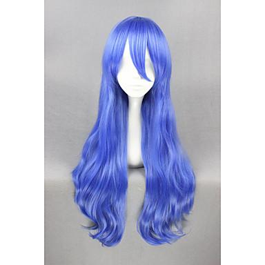 الاصطناعية الباروكات / باروكات مخصصة نسائي مجعد أزرق شعر مستعار صناعي أزرق شعر مستعار قصير دون غطاء أزرق