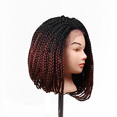 povoljno Perike i ekstenzije-Prednja perika od sintetičkog čipke Stil Bob frizura Lace Front Perika Ljubičasta Crno / Srednja Auburn Crno / Auburn Sintentička kosa Žene Prirodna linija za kosu Stražnji dio Afro-američka perika
