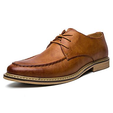 Homens sapatos Couro Ecológico Verão Outono Sapatos formais Oxfords para Casual Escritório e Carreira Festas & Noite Preto Cinzento Marron