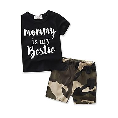 bf13f866f3c109 Toddler Boys  Dresswear Daily   Sports   Going out Geometric Print Short  Sleeve Regular Regular Cotton   Polyester Clothing Set Black