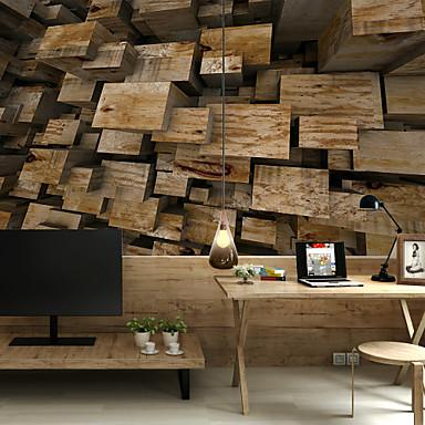 preiswerte Wand- & Ölbilder-Block Holz Planke benutzerdefinierte 3d große Wand Wand Tapete passen Restaurant Schlafzimmer Büro