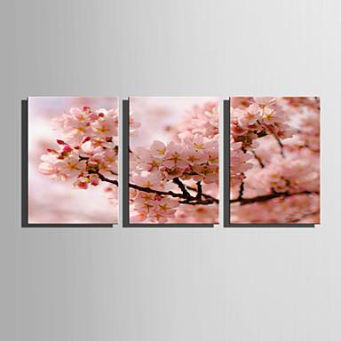 Floral/Botânico Modern Estilo Europeu, 3 Painéis Tela de pintura Vertical Estampado Decoração de Parede Decoração para casa