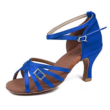 للمرأة أحذية رقص قماش صندل / كعب مشبك كعب كوبي مخصص أحذية الرقص فوشيا / بني / أزرق / أداء