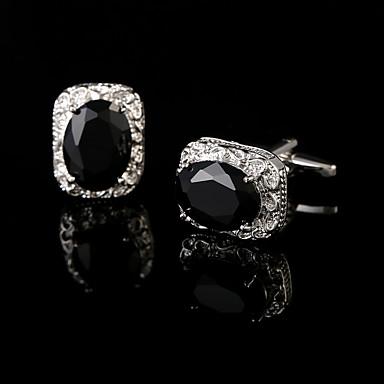 Geometric Shape أسود أزرار أكمام نحاس علب الهدايا والحقائب / موضة للرجال مجوهرات من أجل