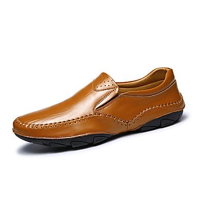 Homens sapatos Pele Napa / Couro Primavera / Outono Conforto Mocassins e Slip-Ons Preto / Marron / Azul