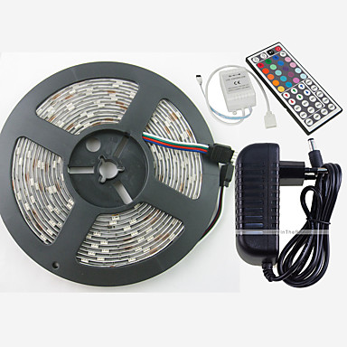 ZDM® 5m RGB Strip Lights 150 LEDs 5050 SMD 1 44Keys Remote Controller / 1 AC Cable / 1 x 12V 3A Adapter RGB Cuttable / Waterproof / Decorative 1set / IP65 / Self-adhesive